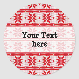 Xmas knitting seamless pattern 1 + your ideas classic round sticker