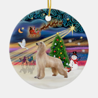 Xmas Magic - Afghan Hound (fawn) Ceramic Ornament