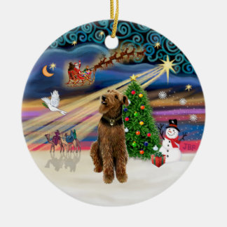 Xmas Magic - Airedale (looking up) Round Ceramic Ornament