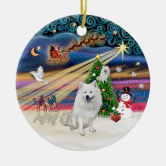 Xmas Magic - American Eskimo Dog Ceramic Ornament