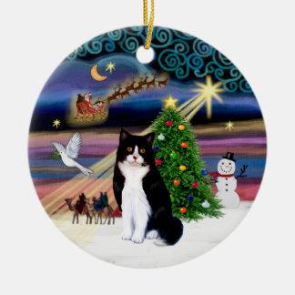 Xmas Magic - Black and White cat (ASH) Ceramic Ornament