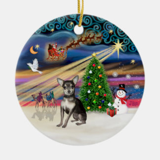 Xmas Magic - Blue and Cream Chihuahua Ceramic Ornament