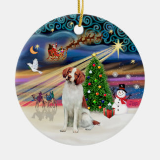 Xmas Magic - Brittany Spaniel Ceramic Ornament