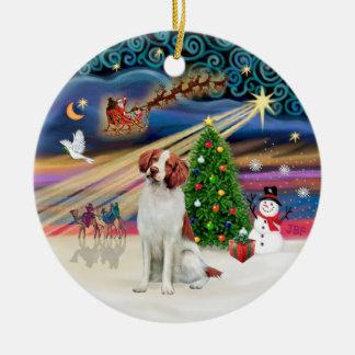 Xmas Magic - Brittany Spaniel Christmas Tree Ornaments