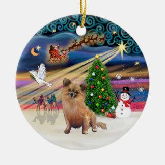 Xmas Magic - Chihuahua (long haired) Ceramic Ornament