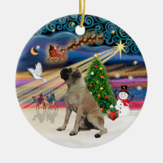 Xmas Magic - English Bull Mastiff Ceramic Ornament