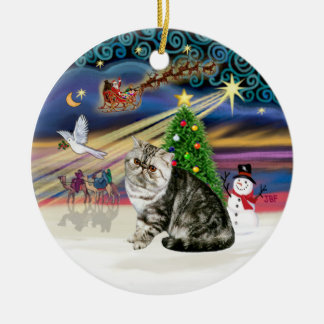 Xmas Magic - Exotic Short Hair Tabby Cat Ceramic Ornament