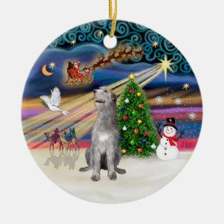 Xmas Magic - Irish Wolfhound Ceramic Ornament