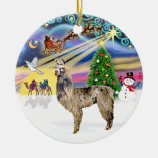 Xmas Magic - Llama 2 Round Ceramic Ornament