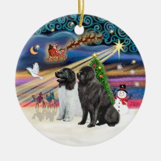 Xmas Magic - Newfoundlands (TWO-LdS+Black) Ceramic Ornament