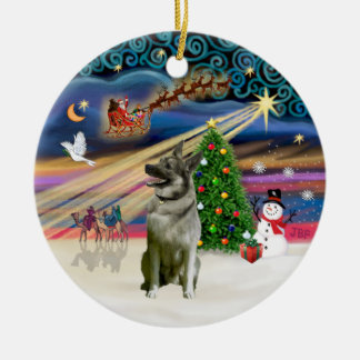 Xmas Magic - Norwegian Elkhound Round Ceramic Ornament
