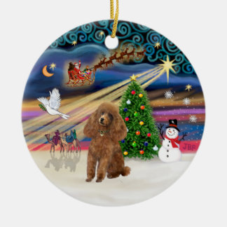 Xmas Magic - Poodle (Toy apricot) Christmas Tree Ornament