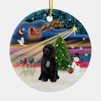 Xmas Magic - Portuguese Water Dog (R-sit) Ceramic Ornament