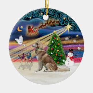 Xmas Magic - Red Siberian Husky Ceramic Ornament