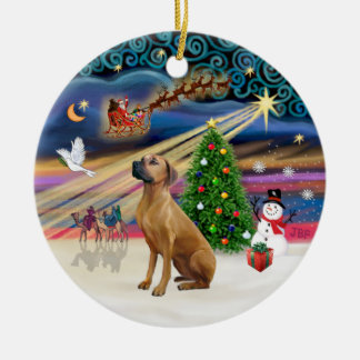 Xmas Magic - Rhodesian Ridgeback Ceramic Ornament