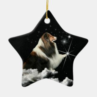 Xmas Magic Sheltie Ceramic Star Ornament