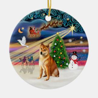 Xmas Magic -  Shiba Inu 7 Ceramic Ornament
