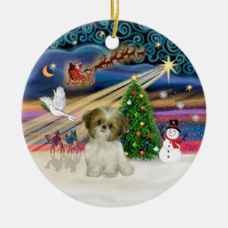 Xmas Magic - Shih Tzu Puppy (brown-white) Ceramic Ornament