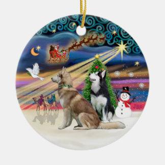 Xmas Magic - Siberian Huskys (Red + BW) Ceramic Ornament