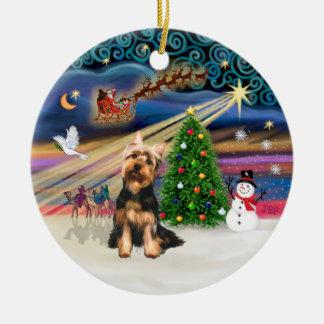 Xmas Magic - Silk Terrier (S) Round Ceramic Ornament