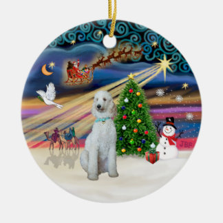 Xmas Magic - Standard Poodle (cream/white) Ceramic Ornament