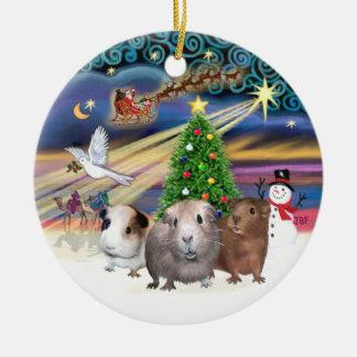 Xmas Magic - Three Guinea Pigs Round Ceramic Ornament