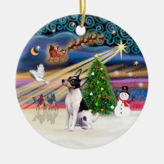 Xmas Magic - Toy Fox Terrier Round Ceramic Ornament