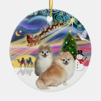 Xmas Magic - Two Pomeranians (WS+fawn) Ceramic Ornament