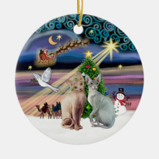 Xmas Magic - Two Sphynx cats Ceramic Ornament