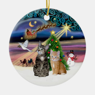 Xmas Magic - Two Tabby cats (#2) Ceramic Ornament
