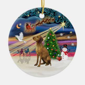 Xmas Magic - Vizsla #2 Ceramic Ornament