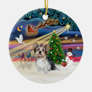 Xmas Magic - Yorkie (Biewer) Ceramic Ornament