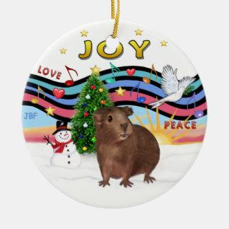 Xmas Music 1 - Brown Guinea Pig #3 Round Ceramic Ornament