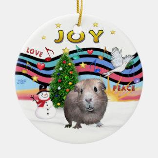 Xmas Music 1 -  Guinea Pig #2 Round Ceramic Ornament