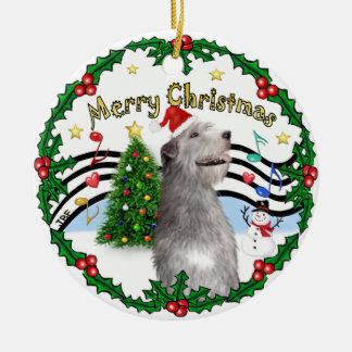 Xmas Music 1 - MC - Irish Wolfhound (hat) Ceramic Ornament
