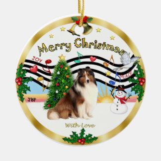 Xmas Music 1 - Shetland Sheepdog #7 Ceramic Ornament