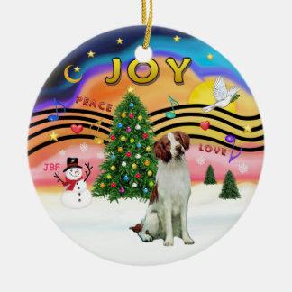 Xmas Music 2 - Brittany Spaniel Ceramic Ornament