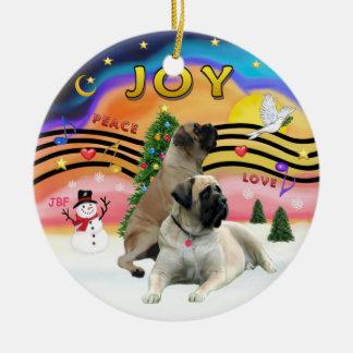 Xmas Music 2 - Bull Mastiffs (two) Ceramic Ornament