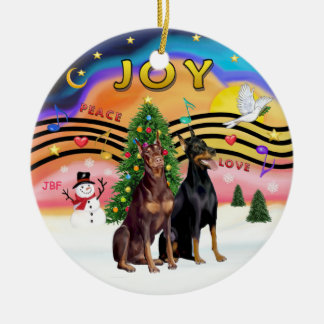 Xmas Music 2 - Dobermans (TWO) Ceramic Ornament