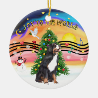 Xmas Music 2 - Jo y- Bernese Mountain Dog Round Ceramic Ornament