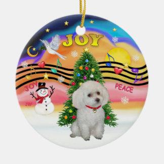 Xmas Music  - White Miniature/Toy Poodle Ceramic Ornament