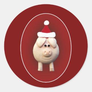 Xmas Piggy Classic Round Sticker