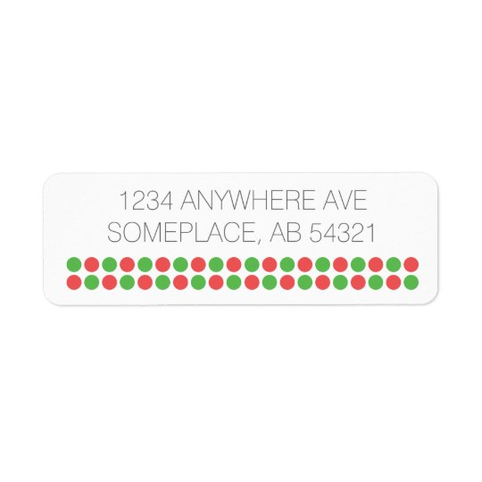 Xmas Polka Dotted Red Green Stripes Return Address Label