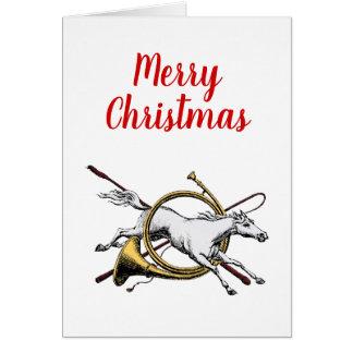 Xmas Preppy Equestrian Horse Jumping Thru Horn C Card