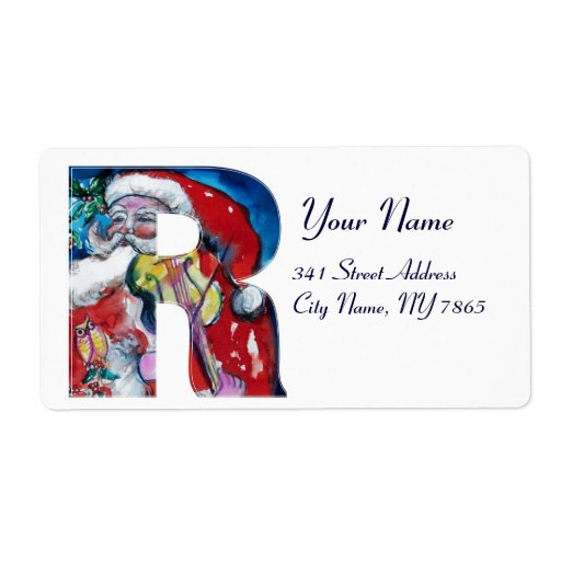 XMAS R LETTER /SANTA  CLAUS WITH VIOLIN MONOGRAM CUSTOM SHIPPING LABELS