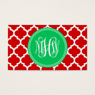 Xmas Red Moroccan #5 Emerald 3 Init Vine Monogram Business Card