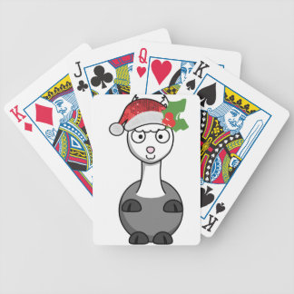 xmas santa claus alpaca bicycle playing cards
