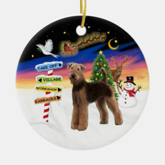 Xmas Signs - Airedale (standing) Round Ceramic Ornament