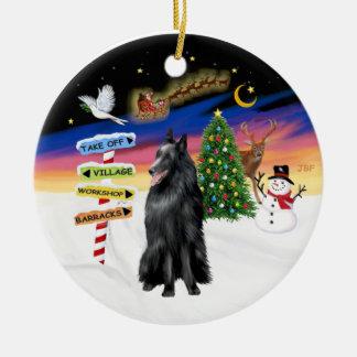 Xmas Signs - Belgian Sheepdog Ceramic Ornament