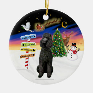 Xmas Signs - Black Standard Poodle Ceramic Ornament